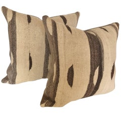 Custom Moroccan Pillows Cut from a Wool Vintage Ourika Kilim, Atlas Mountains