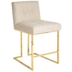Goldfinger Linen and Brass Counter Stool