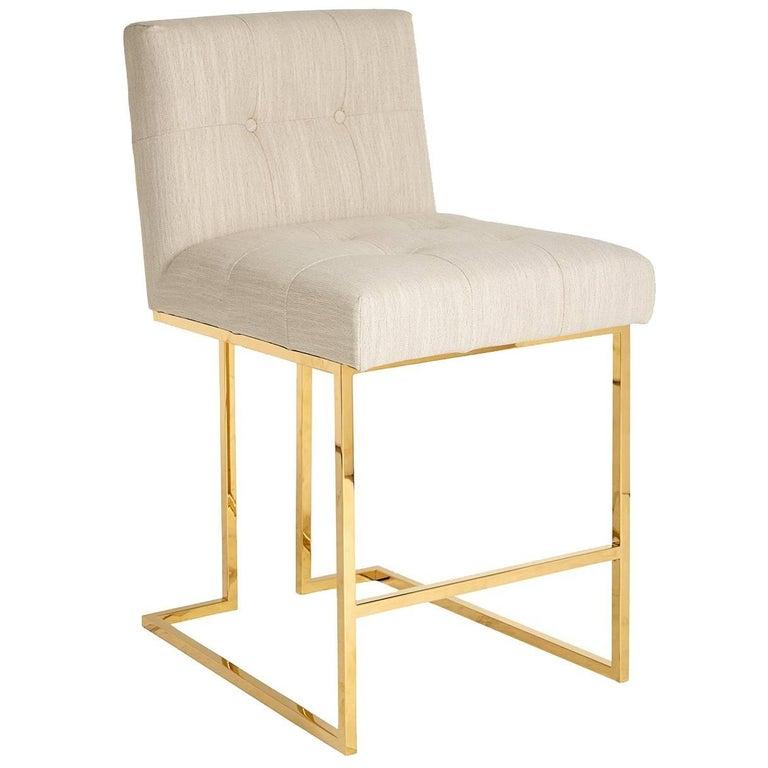 Goldfinger Linen and Brass Counter Stool