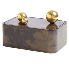 Trocadero Lacquered Goatskin Box in Charcoal