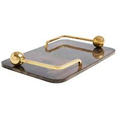 Trocadero Lacquered Goatskin Tray in Charcoal