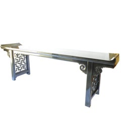 Large Black Lacquer Antique Chinese Altar Table, Fret Side Panels, Shanxi