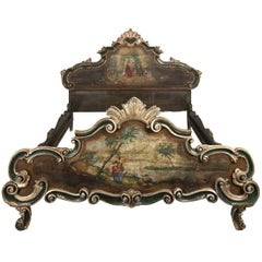 19th Century Venetian Carved and Hand-Painted Bed
