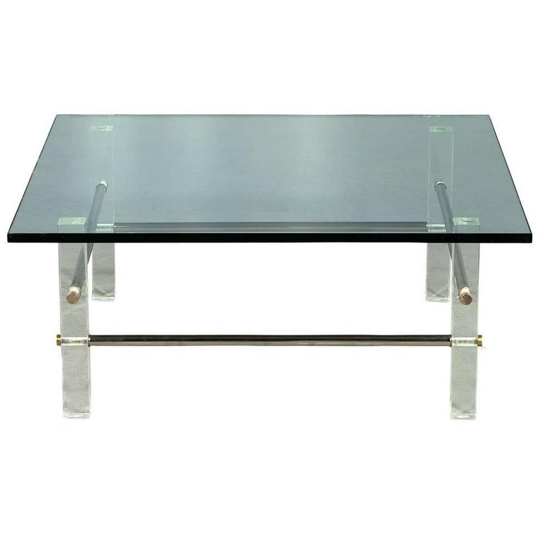 Vintage Acrylic Stainless Steel Glass Top Cocktail Table