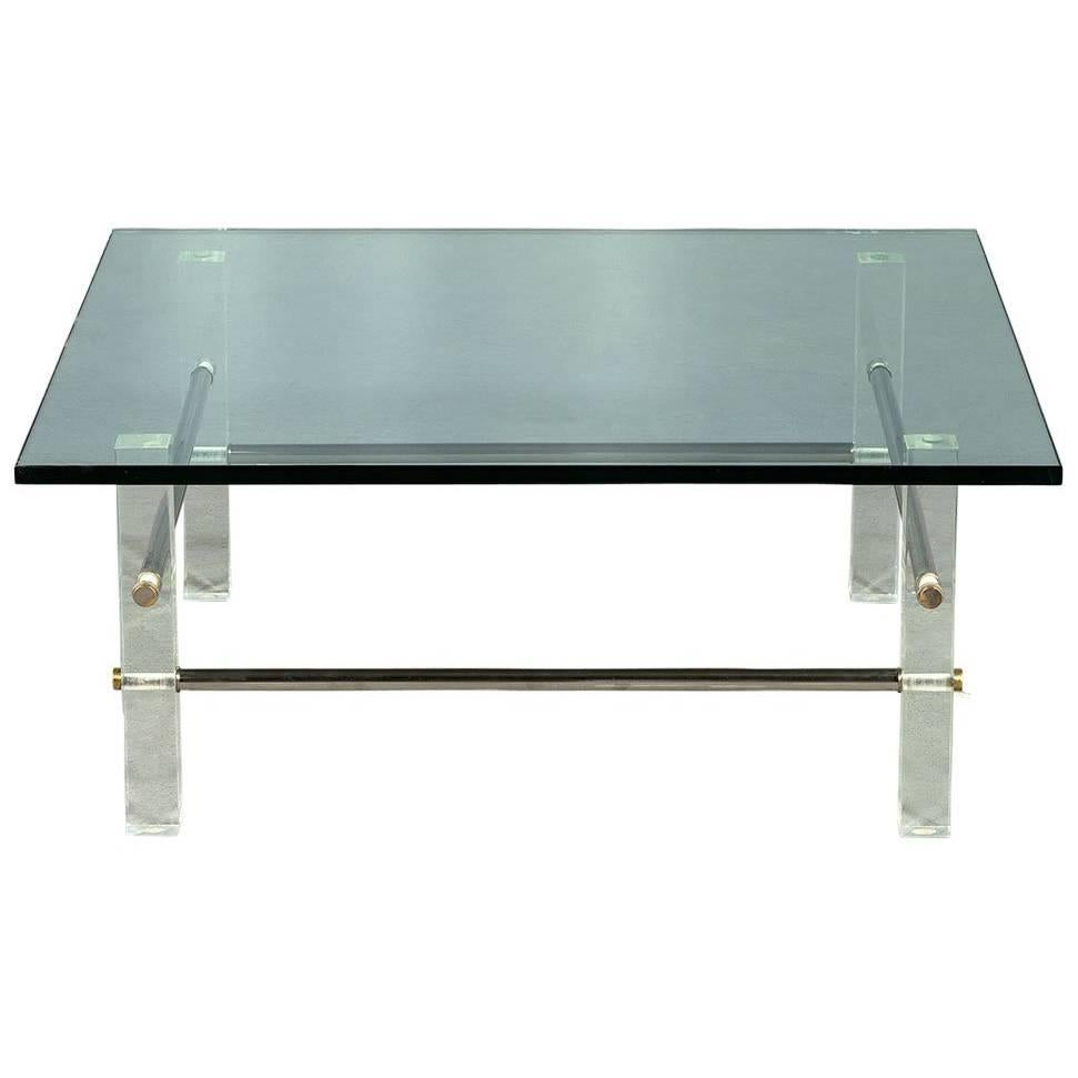 Charmant Vintage Acrylic Stainless Steel Glass Top Cocktail Table For Sale