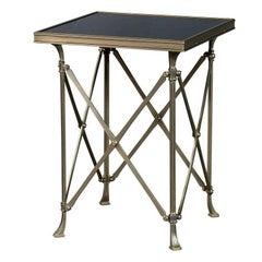 Steel Marble Top Gueridon Side Table