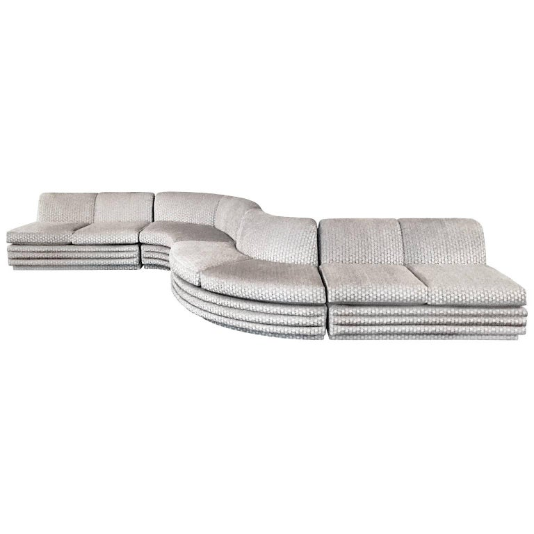 1970s S Shaped Sectional Sofa in Textured Patterned Taupe Velvet For Sale