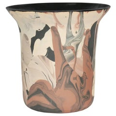 Contemporary Handmade Marbled Ceramic Vase in Peach, Black and Brown