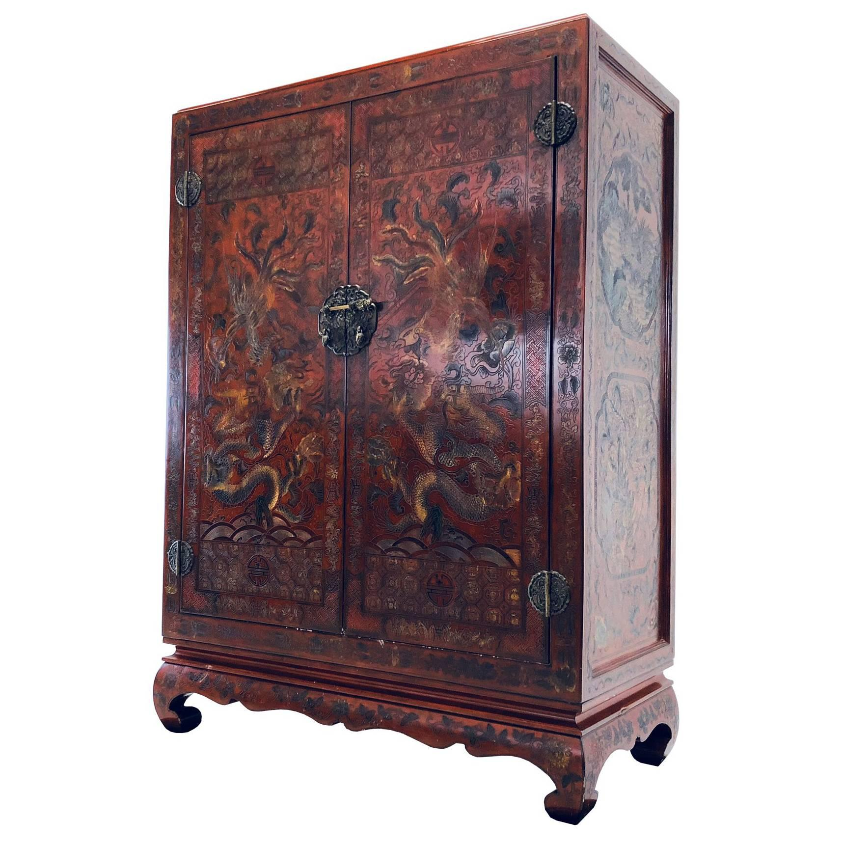 Carved Red Asian Armoire/Liquor Cabinet For Sale