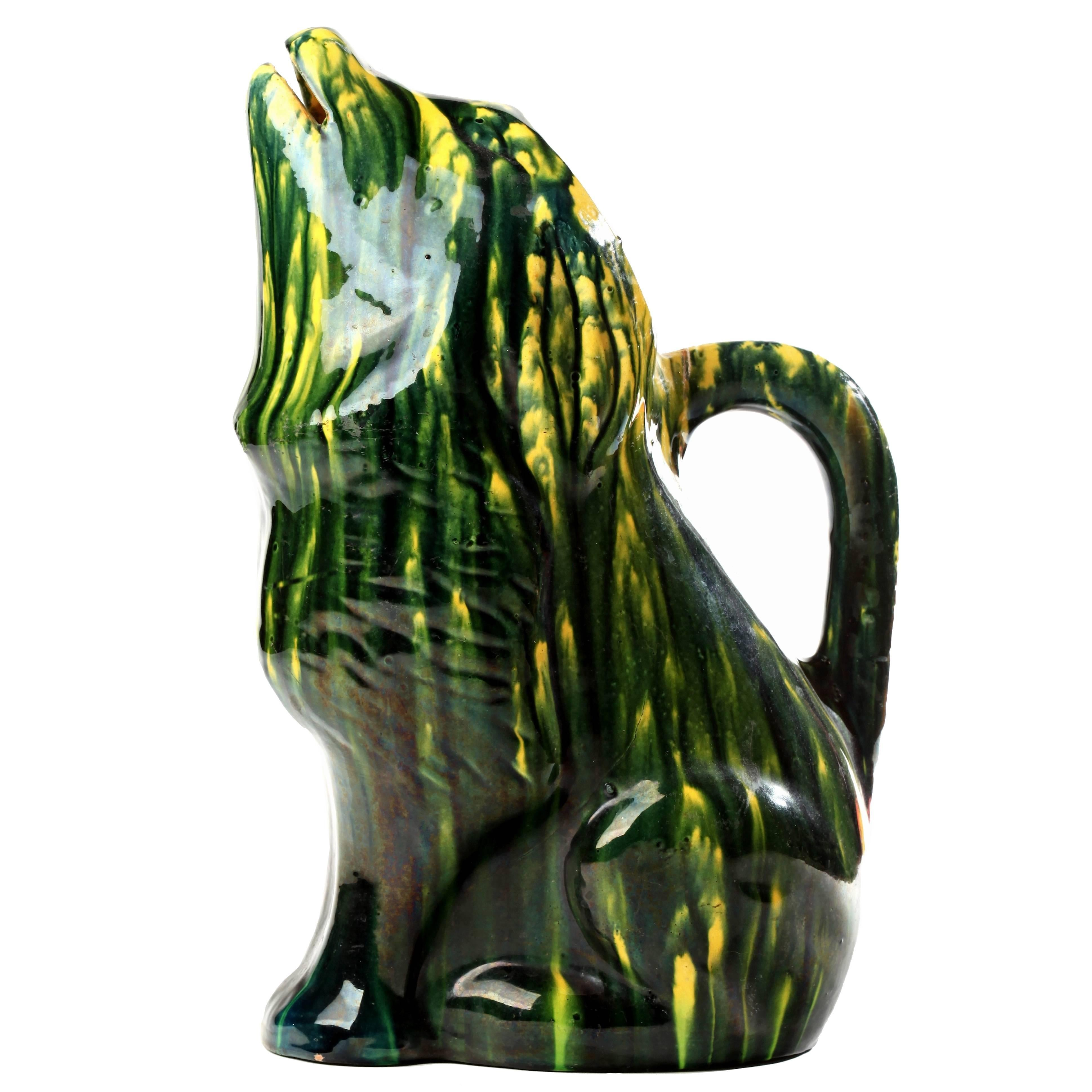 Majolica Green and Yellow Glaze Dog Pitcher