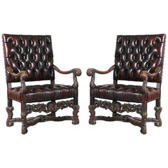 Pair of Italian Baroque-Style Leather Armchairs, 1930s