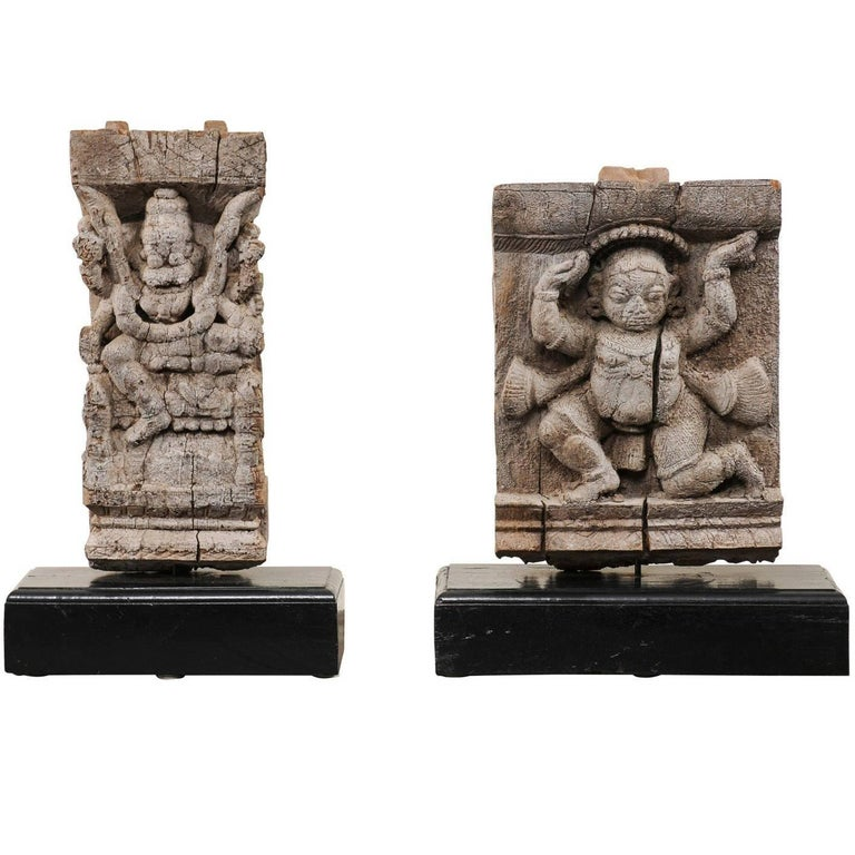 Pair of 19th Century Carved Wood Hindu Temple Fragments from a Temple in India