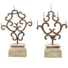 Pair of 18th Century Italian Hand-Forged Iron Prickets Mounted on Painted Wood