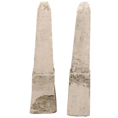 Pair of 19th Century French Stone Obelisk Property Markers, Perhaps for Garden