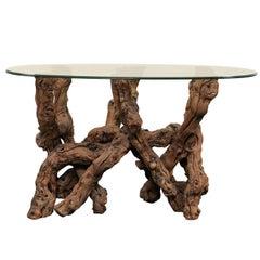 Vintage European Glass Top, Grape Vine / Natural Wood Base Oval Rustic Table
