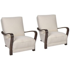 Pair of 1920s French Art Deco Lounge Chairs
