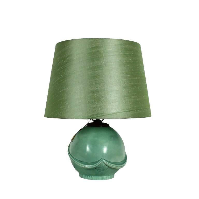 1930s Art Deco Table Lamp, Ceramic, Celadon Green, Czechoslovakia