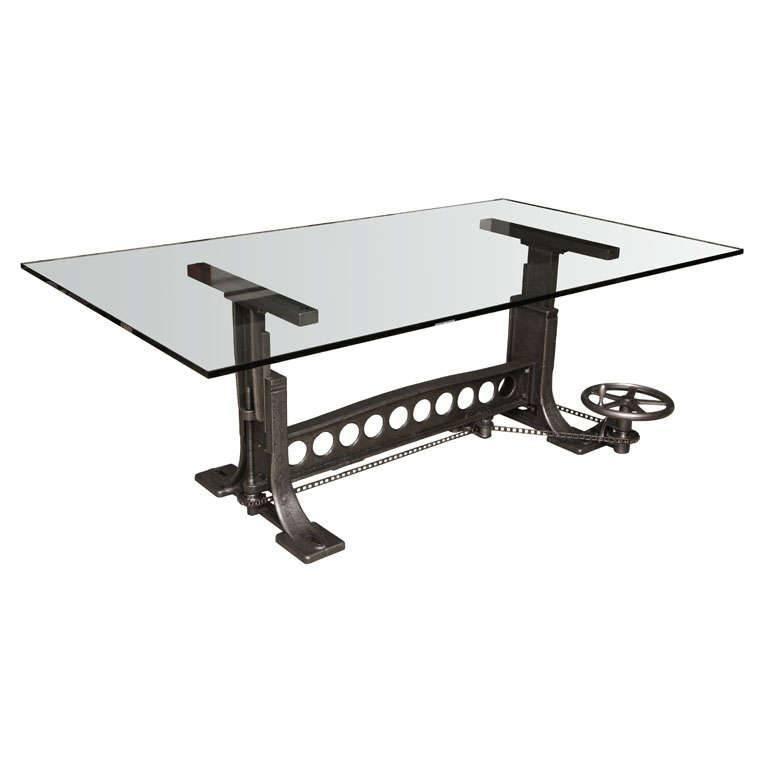 Dining Table, Vintage Industrial Cast Iron Adjustable Base