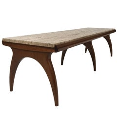 Bertha Schaefer for Singer and Sons Travertine and Walnut Coffee Table or Bench