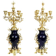 Pair of Art Nouveau Candelabra Blue Porcelain and Gilded Brass