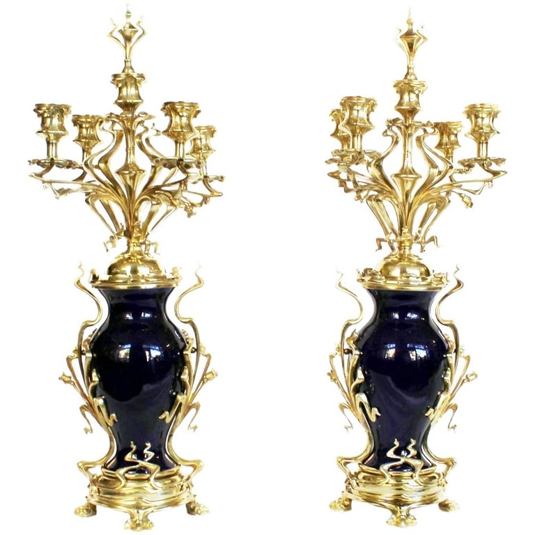 Pair of Art Nouveau Candelabra Blue Porcelain and Gilded Brass