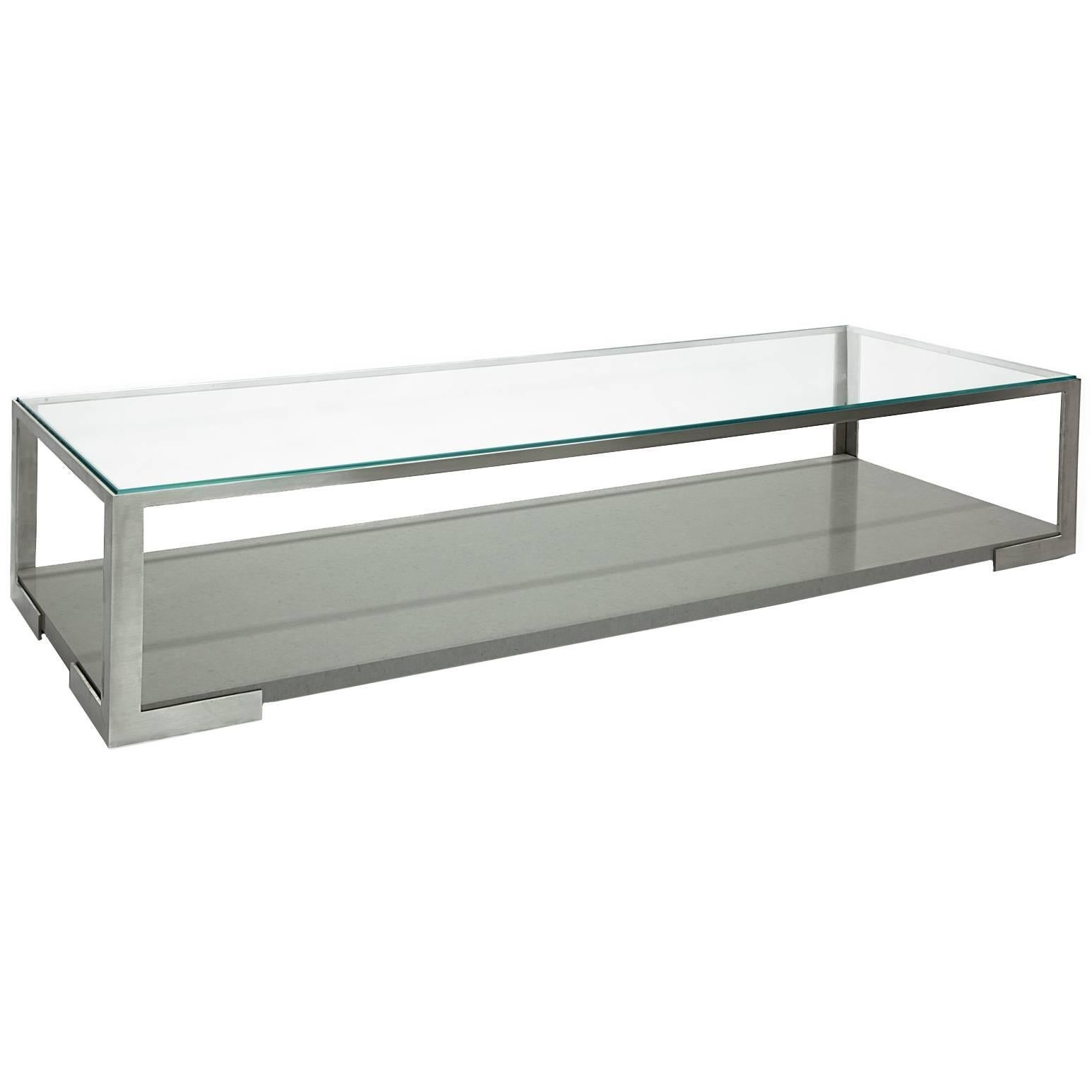 Modern Stainless Steel And Marble, Perry Coffee Table By Aguirre Design