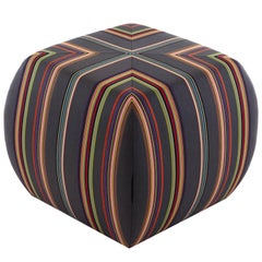 Glide Ottoman striped fabric, Round shapes, custom ottoman with casters movable