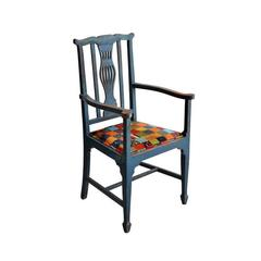 Antique British Colonial Blue Wood Frame Chairs