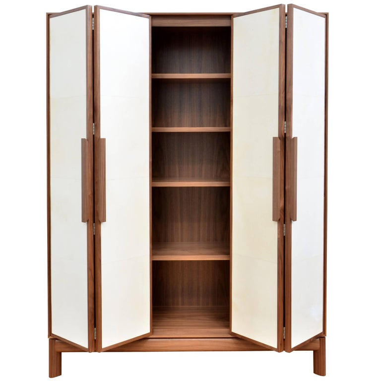"Vermeil ""Stal"" Bar Cabinet Contemporary Style Walnut & Parchment"