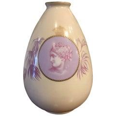 German Porcelain Ovoid Vase Decorated En Camaeiu