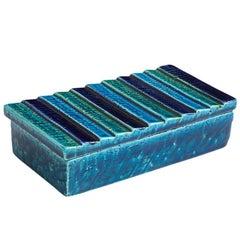 Rosenthal Netter Bitossi Ceramic Box Blue Stripes Pottery Signed, Italy, 1960s