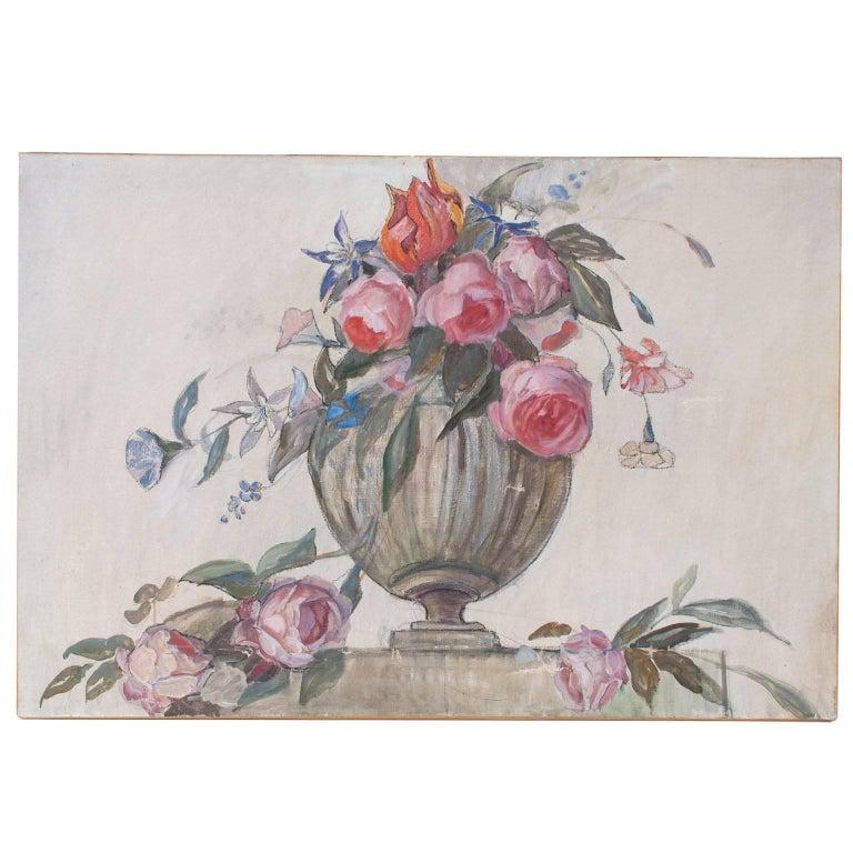 Swedish Art Deco Painting by Helene Herslow Flowers in an Urn (a)