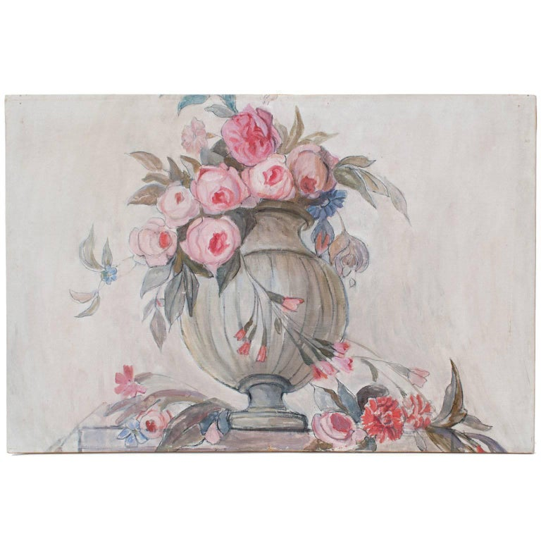 Swedish Art Deco Painting by Helene Herslow Flowers in an Urn 'B'