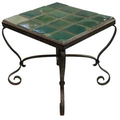 Vintage Cement, Tile, and Iron End Table