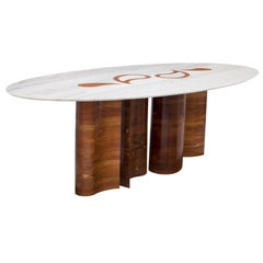 Wood and Marble Petalas Oval Table by Brazilian Yankatu