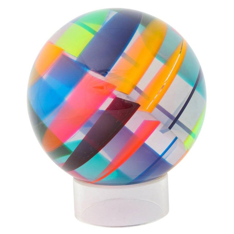 Vasa Mihich Acrylic Sphere Sculpture Signed, USA, 1970s