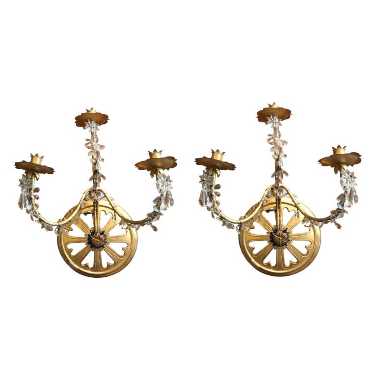Pair of 19th Century French Gilt Three-Arm Sconces Candle Holders