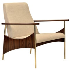 "Vermeil Armchair ""Soul"" by Fabio Stal, Black Louro Wood, Brass Legs"