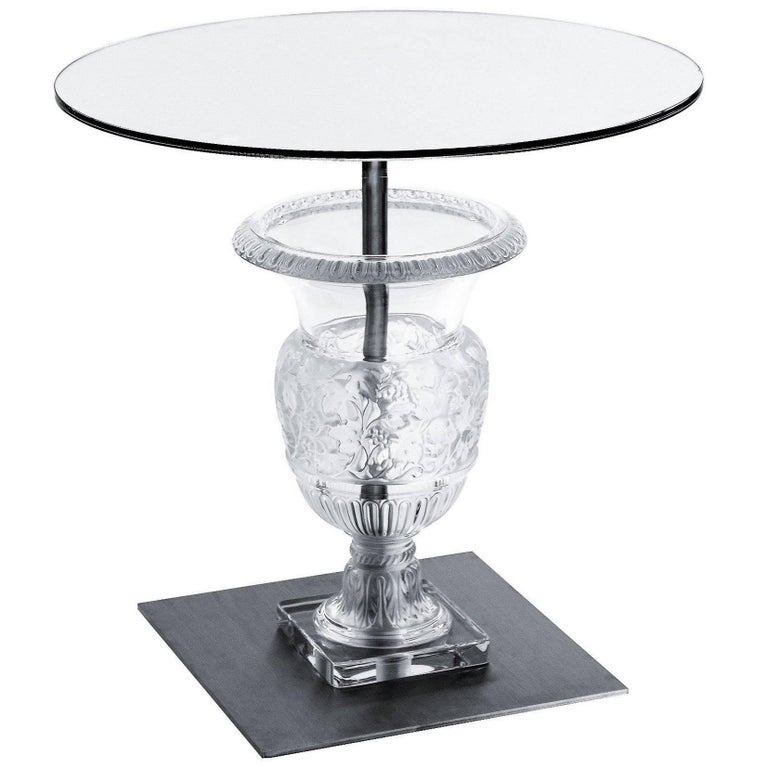 Design Fee For Custom Lalique Clear Crystal Versailles Pedestal Side Table