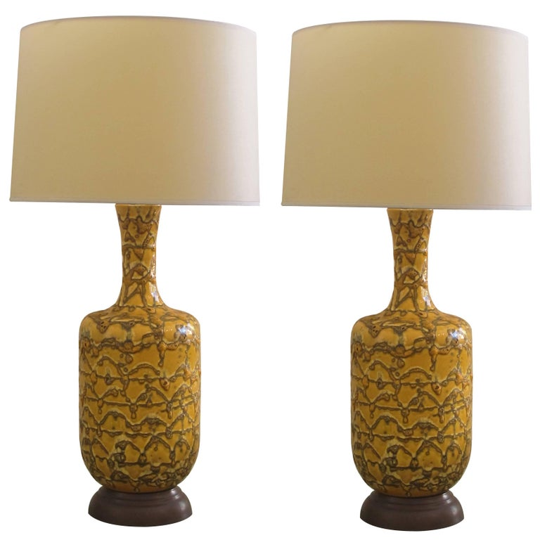 Mod Pair of American 1960s Mustard Crater Glazed Bottle-Form Lamps