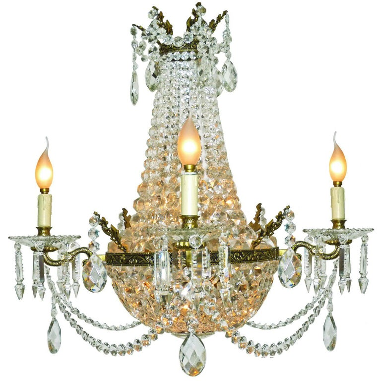 French Louis XVI Regency Empire, Cut Crystal & Bronze 10 Light Basket Chandelier