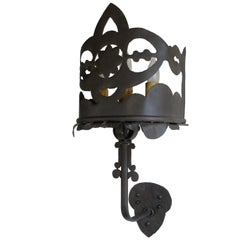 Set of Six Hand Cut Iron Sconces