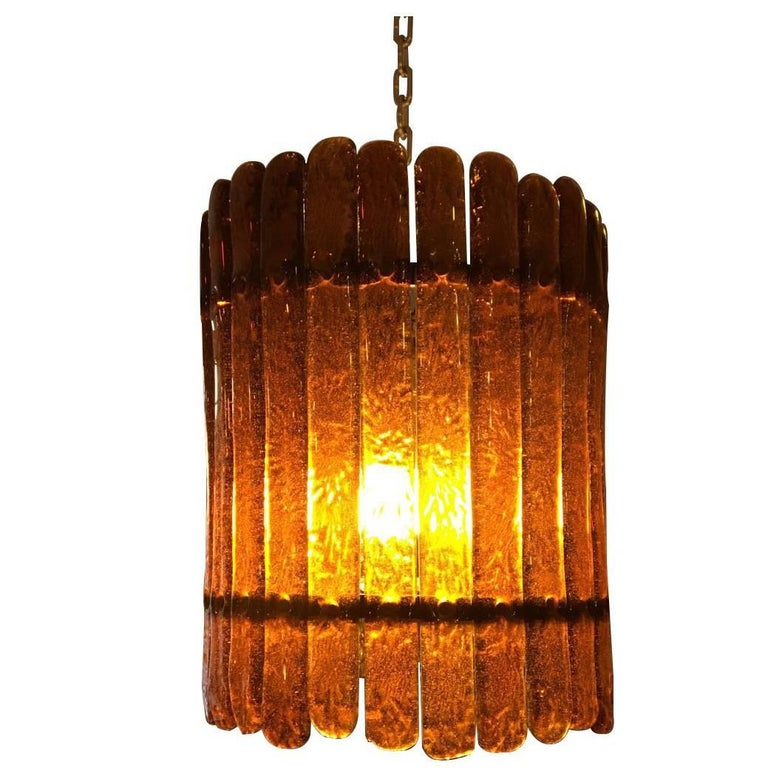 Feders Amber Handblown Glass Chandelier For Sale