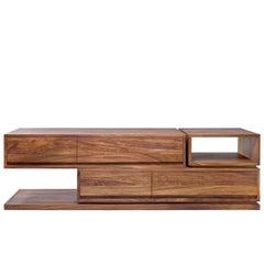 Contemporary DD Console in Conacaste Solid Wood