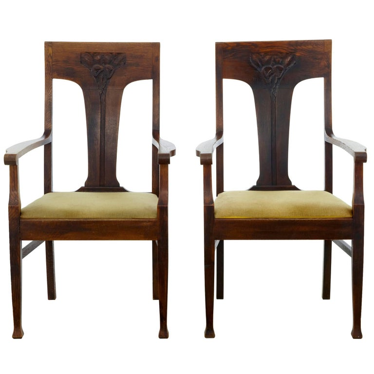 Pair of Late 19th Century Oak Arts & Crafts Armchairs