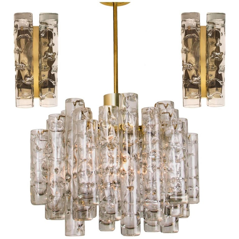 Set of Three Doria Brass Light Fixtures Two Wall Lights and One Chandelier, 1960 For Sale at 1stdibs