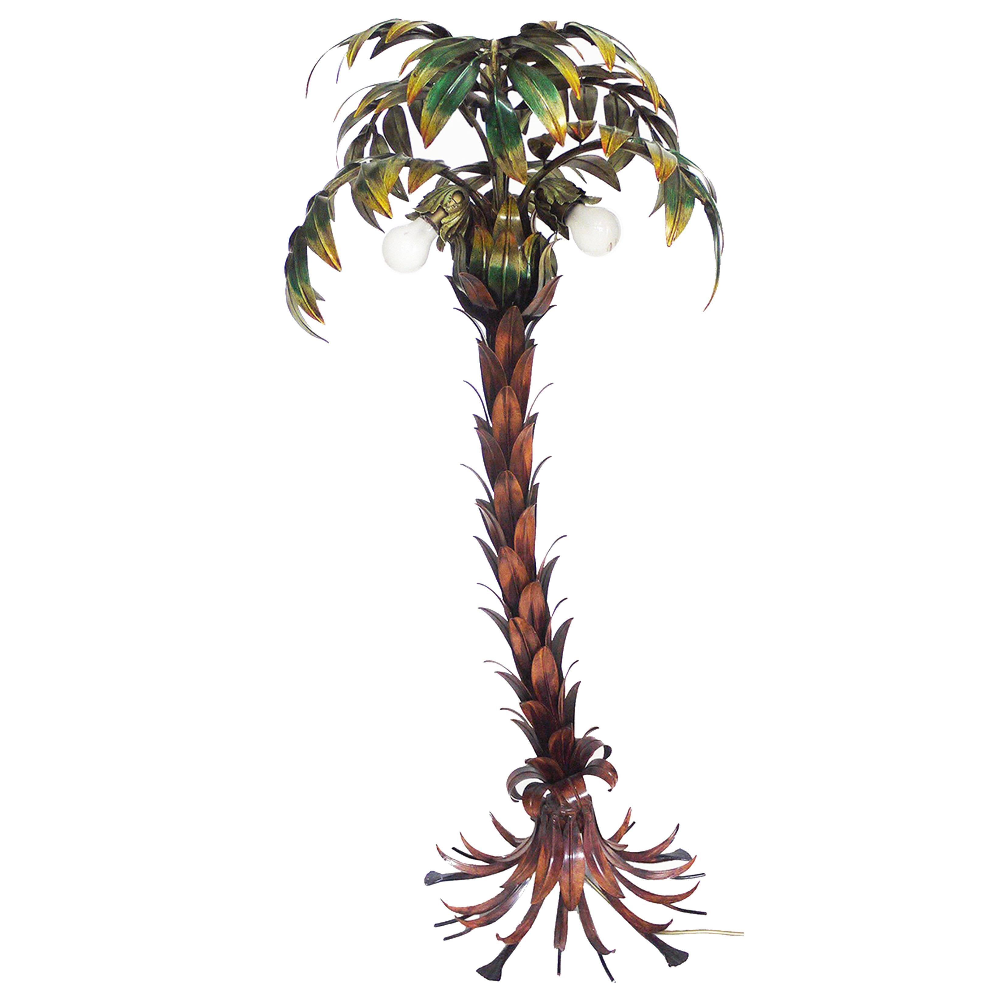 Hans Kogl Palm Tree Floor Lamp Limited Edition Polychrome Metal, Germany, 1970s