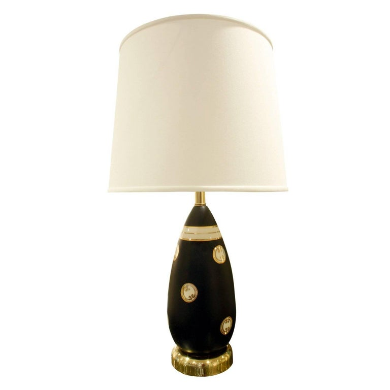 Chic Studio Made Porcelain Table Lamp with Gold Medallions, 1960s For Sale