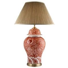 Large Red Orange Porcelain Chinese Dragon Lamp