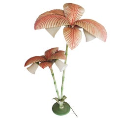 French Polychrome Metal Palm Tree Floor Lamp